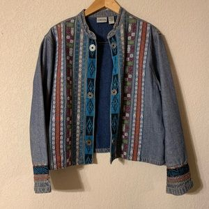 CHICO'S Embroidered Denim Jacket Size 3